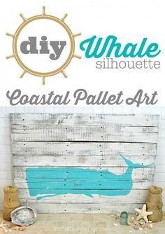 Sally Lee by the Sea | DIY Whale Coastal Pallet Art | http://nauticalcottageblog.com