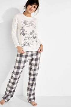 Womensecret Pyjama en coton et carreaux Mickey & Minnie gris