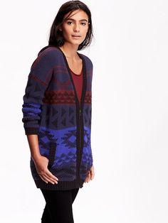Women's Patterned Zip-Front Cardigan