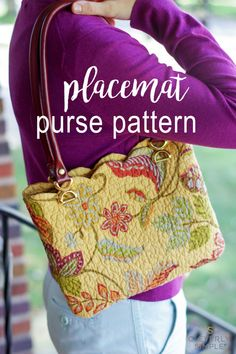 Easy purse pattern using a store bought placemat for the material! Made in a just a few steps with personality and style! via @cleverlysimple