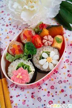 spring flower sushi roll bento