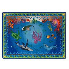 Flagship Carpets Into The Deep, Children's Educational Classroom Rug, Rectangle, Blue/Multi Hidden Letters, Carpet Size, Scotchgard, Letters And Numbers, Sea Creatures, Classroom, Kids Rugs, Deep, Education