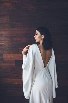"""Modern Romance"" – Inspiration for the Minimalist Bride minimal wedding dress with sculptural sleeves by One Day Bridal Minimal Wedding Dress, Minimalist Wedding Dresses, Elegant Wedding Hair, Perfect Wedding Dress, Wedding Dress Styles, Dream Wedding Dresses, Bridal Dresses, Wedding Hairs, Wedding Gowns"