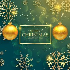 Green christmas background with golden snowflakes Free Vector
