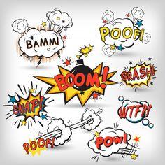 Comic speech bubbles in pop art style with bomb cartoon explosion splach powl sn. Comic speech bubbles in pop art style with bomb cartoon explosion splach powl snap boom poof text set vector illustr Graffiti Tattoo, Graffiti Lettering, Graffiti Art, Comic Boom, Comic Text, Art Pop, Comic Sound Effects, Pop Art Tattoos, Tattoo Art