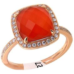 Gorgeous Red Agate and diamond fashion ring in 18Kt rose gold.
