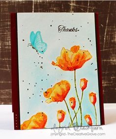 Watercolor Stamped & Painted Poppies (wc4, ims, +)