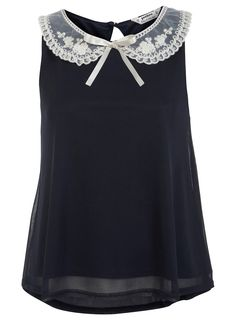 Miss Selfridge Petites Embroidered Collar Top, £29