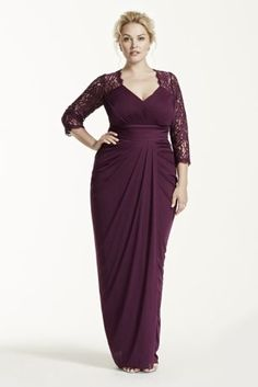 Ideal for any special occasion, you will feel fabulous in this stunning long sleeve V-neck dress!  Long sleeve bodice features elegant lace detail and eye-catching V-neckline.  Ruched empire waist helps shape a flattering silhouette.  Stretch tulle skirt elongates figure and finishes off the look.  Fully lined. Back zip. Imported polyester. Dry clean only. Also available in Missy sizes as Style 061904180