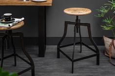 Barová stolička z masívu a kovu CROFT BAR. Eshop Reaction. Chaise Bar, Industrial Style, Bar Stools, Crafts, Furniture, Home Decor, Products, Environment, Industrial By Design