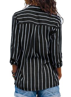 4c29f72067f315 Black Red Striped Blouse Womens Tops And Blouses Long Sleeves Women ...