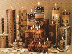 En las casas comerciales para artesanos hay pintura especial para velas. También se pueden usar las pinturas acrílicas si se aplica previame...