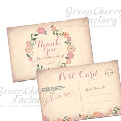 Printable Thank You Post Card - Baby Girl Baptism - Shabby Chic Vintage Peach Background - Girl Baptism - Christening - No.101 on Etsy, $10.00