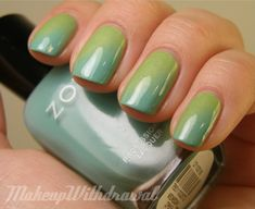 Sponge Gradient:  paint nail the top (lighter) colour, then apply BOTH polishes to a makeup sponge nails until colours are blended (then clean up fingers!).