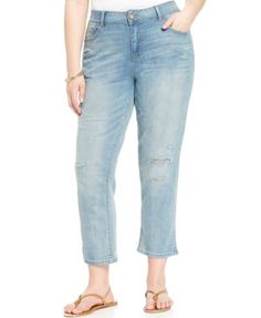 c0718847296 American Rag Plus Size Distressed Cropped Boyfriend Jeans