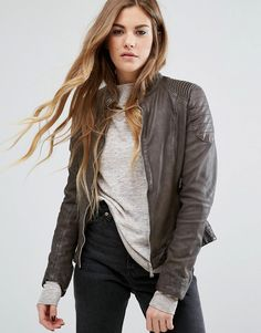Buy it now. Goosecraft Collarless Leather Biker Jacket with Ribbed Arm - Brown. Leather jacket by Goosecraft, Smooth leather, Cotton lining, Press-stud collar, Zip fastening, Functional pockets, Zipped cuffs, Regular fit - true to size, Specialist leather clean, 100% Real Leather, Our model wears a UK 8/EU 36/US 4 and is 162cm/5'3.5 tall. ABOUT GOOSECRAFT Leather-loving label Goosecraft hails from Amsterdam and combines heritage and contemporary details in its outerwear range. Expect…
