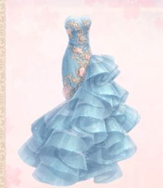Azure Dream could be obtained from a Pavilion Draw from the Barbie Event. Blue strapless mermaid dress with gold patterns and pink roses. Anime Girl Dress, Anime Girl Cute, Fashion Drawing Tutorial, Some Beautiful Pictures, Dress Sketches, Fashion Design Drawings, Fantasy Dress, Mermaid Dresses, Anime Outfits