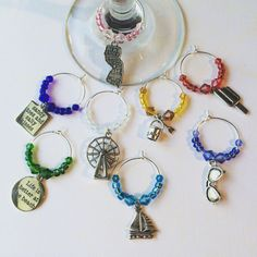 Down the Shore Wine Charms-New Jersey Wine by FuzzHeadCrafts