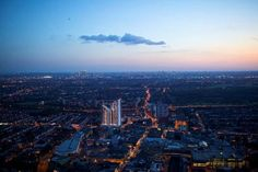 Night skyline of Ilford Town, Greater London