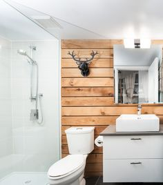 Hanging vanity, like the white double cupboards, prefer wooden counter to the grey, tiles in shower are light & neutral