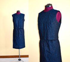 1960s Vintage Mod Black and Blue Metallic Cocktail Dress Set