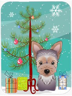 Christmas Tree and Yorkie Puppy Mouse Pad - Hot Pad or Trivet BB1604MP #artwork #artworks