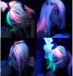 Super cool glow in the dark hair dye!!!