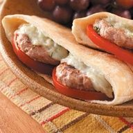Mini Greek Burgers Recipe. I like this for serving tuna or salmon or humas with the cheese melted and the tomato.