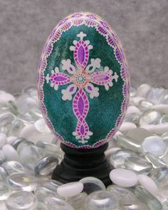 Multi-Colored Rooster with Cross on a Goose Egg | Eggs By Kathy
