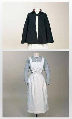 c.1918-25 St Bartholomew's Hospital Staff Nurse Uniform:  Dress, Apron & Cape. Fine blue and white striped cotton twill. Long sleeved dress with waistband and front opening in style going back to 1860's.