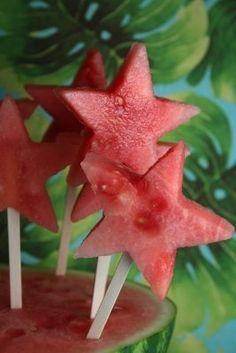 sandía con forma de estrella. Otra forma de presentación.