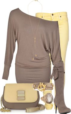 """Grey and Yellow"" by glamatarian on Polyvore"