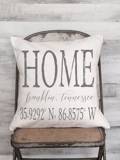 Pillow Cover Housewarming Gift Personalized City by JolieMarche