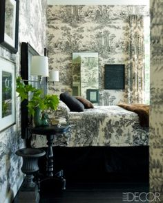 Timeless. A toile de Jouy is used for the walls, curtains, and bedcover. Elle Decor