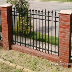 Our 5ft Tall Signature Grade Aluminum Fence in Classic Style with Brick Columns