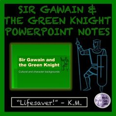 This 10-slide PowerPoint introduces the story of Sir Gawain and the Green Knight. It includes information on the Pearl Poet (author of Sir Gawain and the Green Knight), characteristics of a medieval romance and its stages, poetic devices in the text, themes, characters, and the code of conduct for knights.