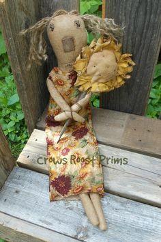 Primitive Sunny Sunflower doll #folkart #CrowsRoostPrims