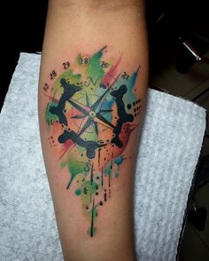 Compass watercolor tattoo by Juan David Castro R