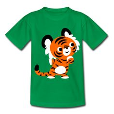 Kelly green Cute Curious Cartoon Tiger by Cheerful Madness!! Kids' Shirts