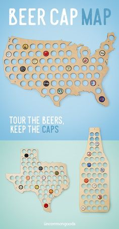 A unique Father's Day gift for the craft beer fan, this handmade map allows you to capture your favorite caps while you explore the country's best beers!
