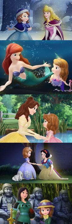 Sofia Meets Five Princesses Disney Pixar Movies, Disney Crossovers, Disney Nerd, Disney Cartoons, Disney Love, Disney Magic, Disney Characters, Disney Stuff, Walt Disney