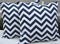 Chevron Throw Pillows Navy Blue Decorative Pillow Covers 18 x 18 Inches - Navy and White Chevron
