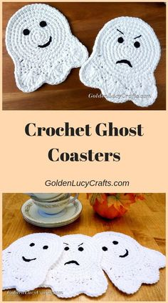 Crochet Ghost Coaster or Applique - GoldenLucyCrafts - - This crochet Ghost Coaster will be a perfect addition for Halloween table decoration. Learn more here. Holiday Crochet, Crochet Home, Crochet Gifts, Free Crochet, Knit Crochet, Halloween Crochet Patterns, Crochet Motif Patterns, Crochet Stitches, Crochet Appliques