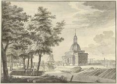 Caspar Jacobsz. Philips | Gezicht op de nieuw gebouwde Muiderpoort, 1771, Caspar Jacobsz. Philips, 1771 | Gezicht op de Muiderpoort te Amsterdam, gezien vanaf de Plantage, 1771. Ontwerp voor een prent.
