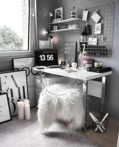 Dream Rooms For Women Home Office - Decoration Home Study Room Decor, Cute Room Decor, Teen Room Decor, Room Ideas Bedroom, Bedroom Decor, Home Office Design, Home Office Decor, Office Ideas, Office Furniture