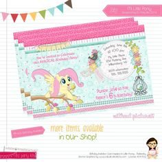 FLUTTERSHY Printable Birthday Invitation Card Digital File My Little Pony…