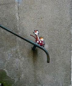 calvin and hobbes street art, optical illusion