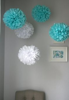 Party Poms. Whimsical & fabulous! Add them to any celebration or room. Party Poms are handmade with recycled content tissue paper $35