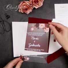 Burgundy and blush florals are the classic matching for any wedding style. Putting them on acrylic sheets and macthing unique tri-fold pocket, perfect affordable wedding invitation is born. Get it for your unique wedding now! Acrylic Wedding Invitations, Affordable Wedding Invitations, Wedding Invitation Envelopes, Burgundy Wedding Invitations, Best Wedding Ideas, Diy Wedding, Dream Wedding, Wedding Day, Bohemian Wedding Decorations