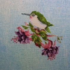 Valerie Pfeiffer's cross stitched Hummingbird uses Kreinik Blending Filament. Beauty!
